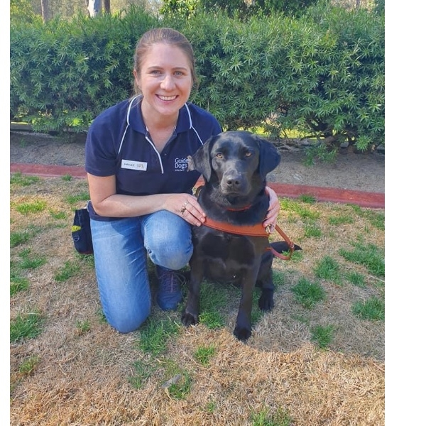 Luna's graduation photo as a guide dog with her trainer Haylee 23/8/2019