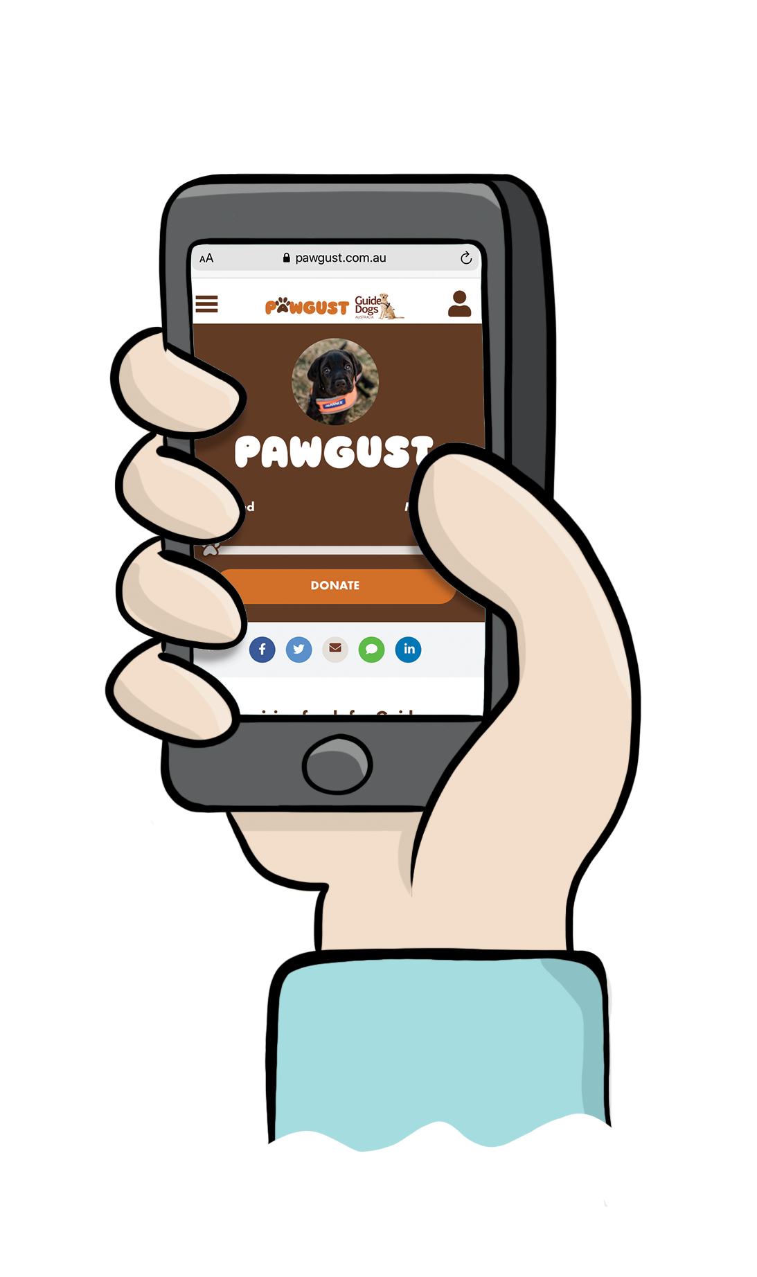 Cartoon hand holding phone with example PAWGUST fundraising page on screen.