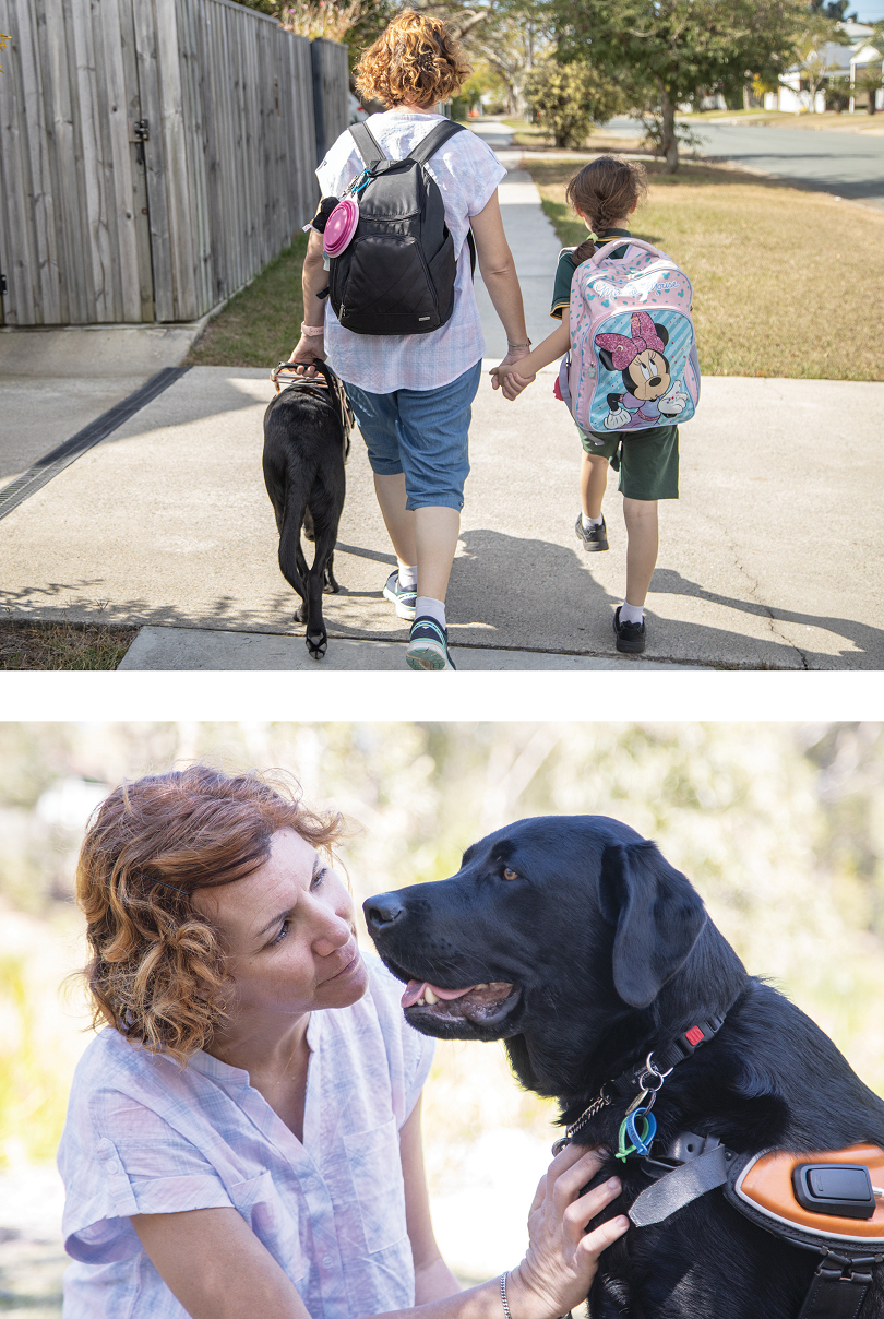 Image 1 shows Sahar and her daughter walking to school with Guide Dog Wally by Sahar's side. Image 2 shows a close up of Sahar looking straight at Wally giving him a scratch on his neck.